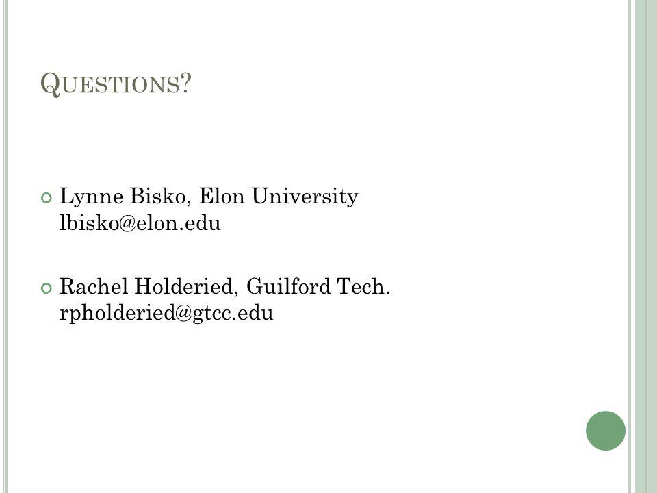 Q UESTIONS . Lynne Bisko, Elon University lbisko@elon.edu Rachel Holderied, Guilford Tech.
