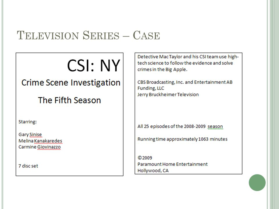 245 0 0CSI: NY.‡nThe fifth season‡h[videorecording] /‡cCBS Broadcasting, Inc.