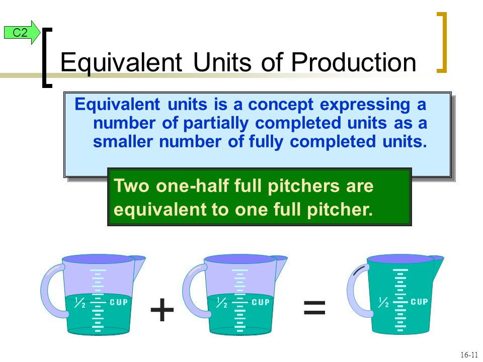 16-11 Equivalent units is a concept expressing a number of partially completed units as a smaller number of fully completed units. Two one-half full p