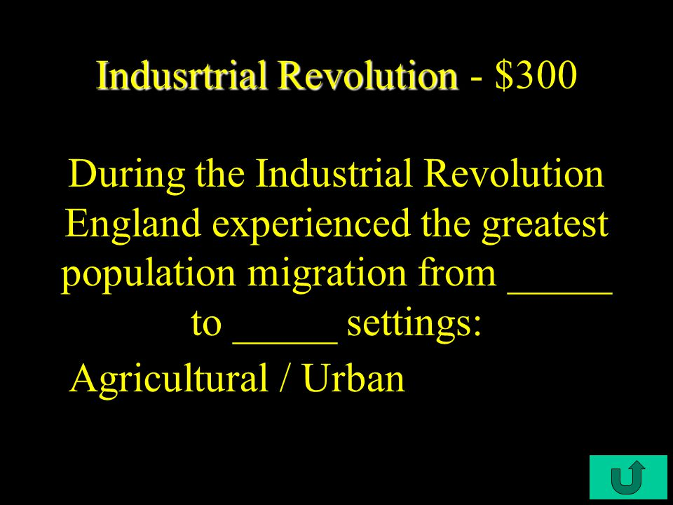 C3-$200 Industrial Revolution Industrial Revolution - $200 By 1850, England had a nationwide system of: Railroads