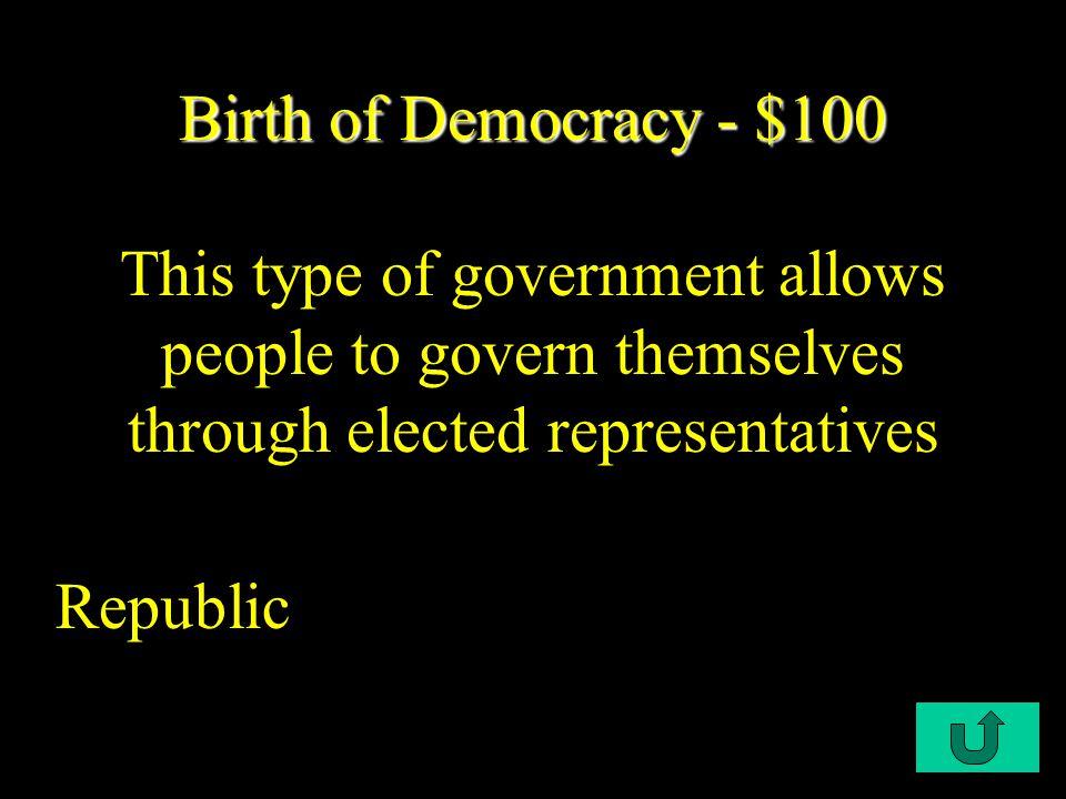 $100 $200 $300 $400 $500 DemocraticRevolutionsIndust.Rev.ImperialismWWI This N' That Birth of Demo.