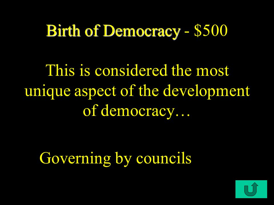 C1-$400 Birth of Democracy Birth of Democracy - $400 Greco-Roman and Judeo- Christian traditions both stressed a strong belief in: Individual Choice