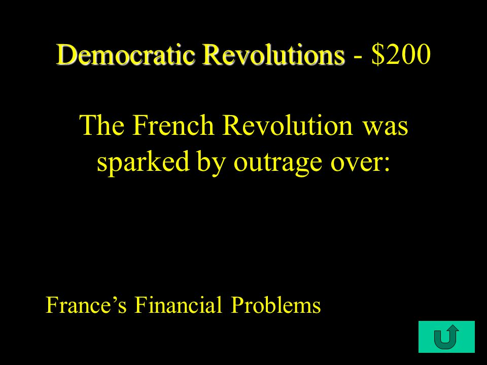 C2-$100 Democratic Revolutions Democratic Revolutions - $100 Which philosopher stated that a government's role is to ensure peoples natural rights.