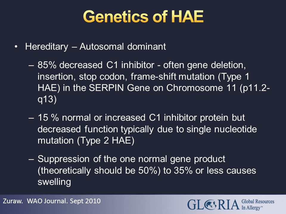 Hereditary – Autosomal dominant –85% decreased C1 inhibitor - often gene deletion, insertion, stop codon, frame-shift mutation (Type 1 HAE) in the SERPIN Gene on Chromosome 11 (p11.2- q13) –15 % normal or increased C1 inhibitor protein but decreased function typically due to single nucleotide mutation (Type 2 HAE) –Suppression of the one normal gene product (theoretically should be 50%) to 35% or less causes swelling Zuraw.