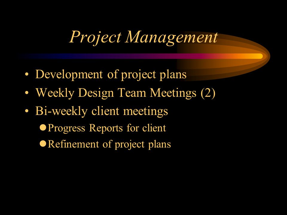 Project Management Development of project plans Weekly Design Team Meetings (2) Bi-weekly client meetings Progress Reports for client Refinement of project plans