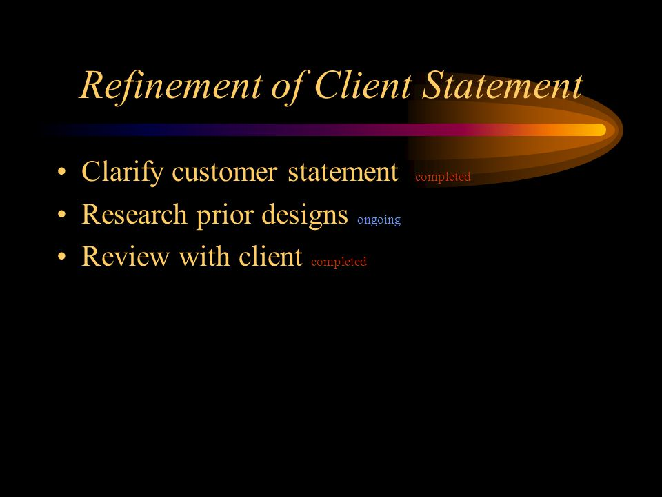 Refinement of Client Statement Clarify customer statement completed Research prior designs ongoing Review with client completed