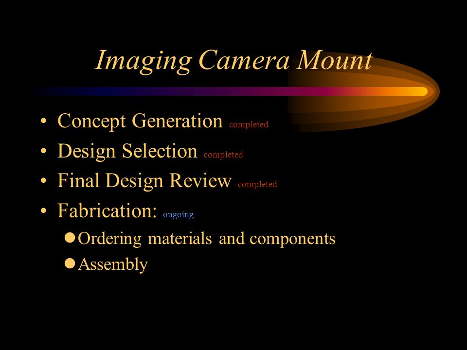 Imaging Camera Mount Concept Generation completed Design Selection completed Final Design Review completed Fabrication: ongoing Ordering materials and components Assembly