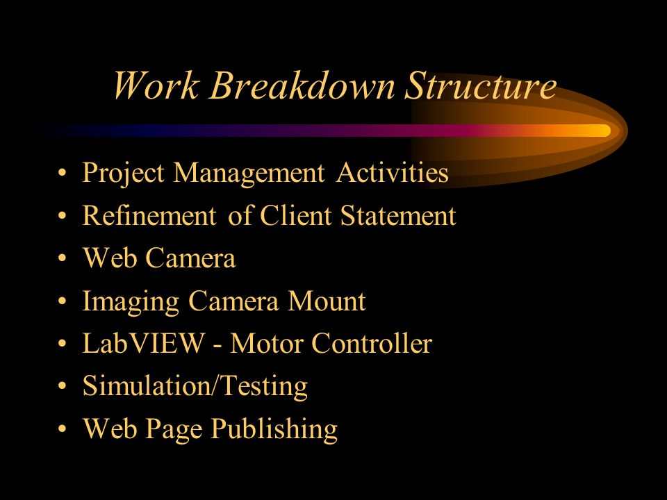 Work Breakdown Structure Project Management Activities Refinement of Client Statement Web Camera Imaging Camera Mount LabVIEW - Motor Controller Simulation/Testing Web Page Publishing