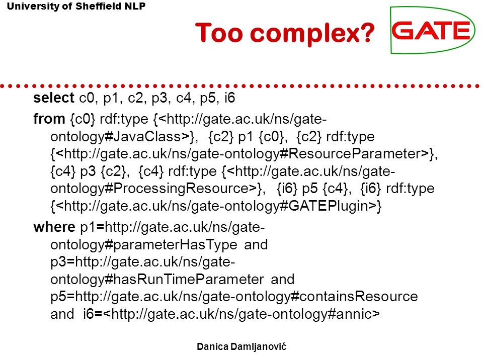 University of Sheffield NLP Danica Damljanović Too complex.