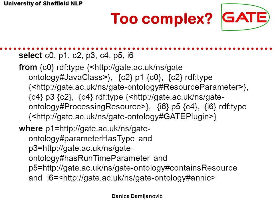 University of Sheffield NLP 5 Danica Damljanović Semantic Search Interfaces Form-based, graphical:  Protégé (Noy et al., 2001)  KIM (Kiryakov et al., 2004) Keyword based:  TAP Search (Guha et al., 2003)  SemSearch (Lei et al., 2006) NLIs to KBs