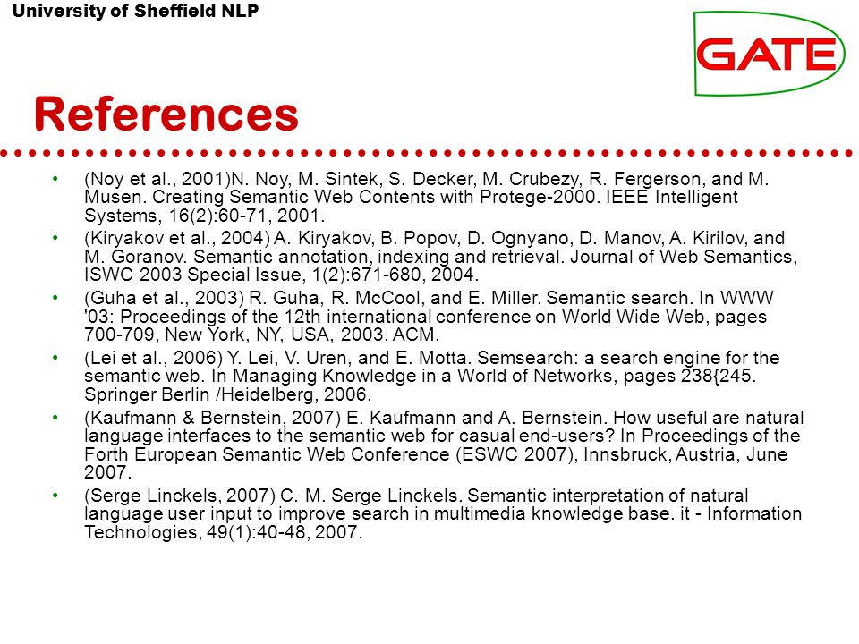 University of Sheffield NLP References (Noy et al., 2001)N.
