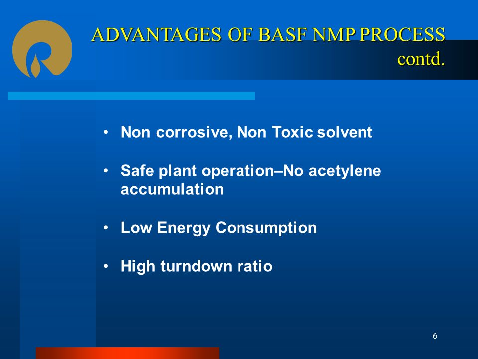 Non corrosive, Non Toxic solvent Safe plant operation–No acetylene accumulation Low Energy Consumption High turndown ratio ADVANTAGES OF BASF NMP PROCESS contd.