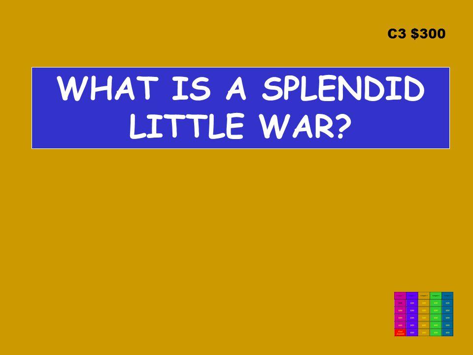 C3 $300 WHAT IS A SPLENDID LITTLE WAR