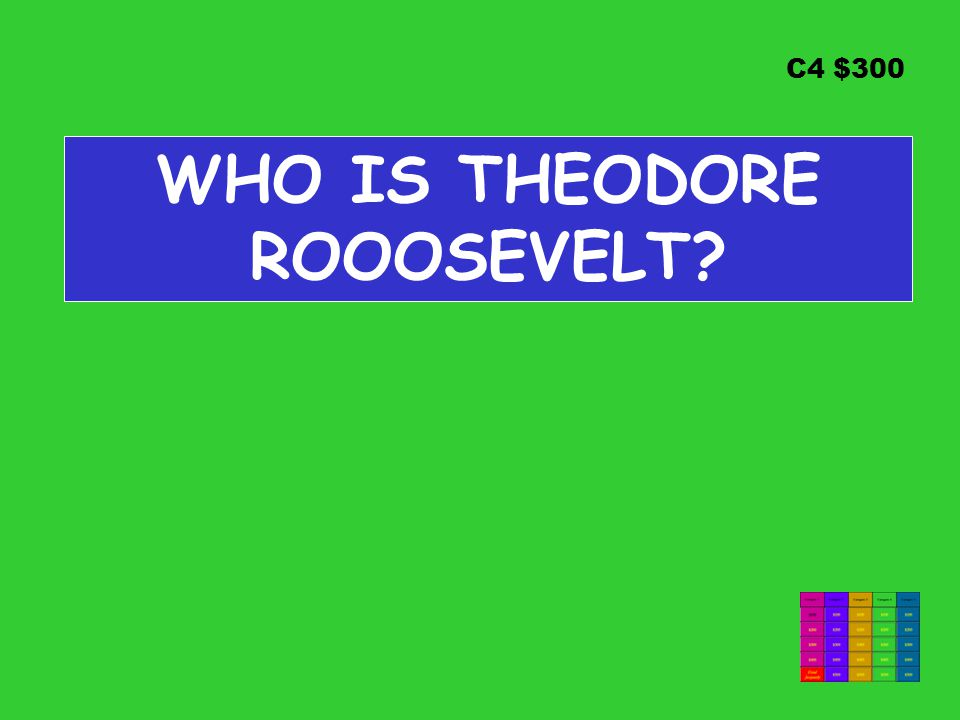 C4 $300 WHO IS THEODORE ROOOSEVELT
