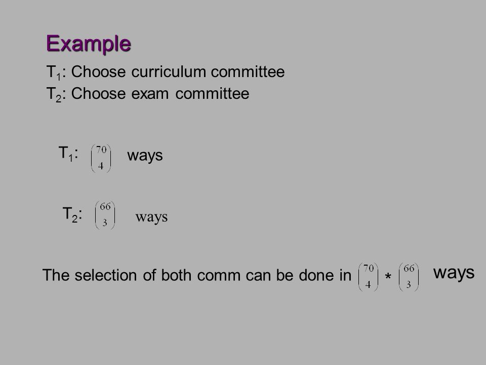 Example T 1 : Choose curriculum committee T 2 : Choose exam committee T1:T1: ways T2:T2: The selection of both comm can be done in * ways