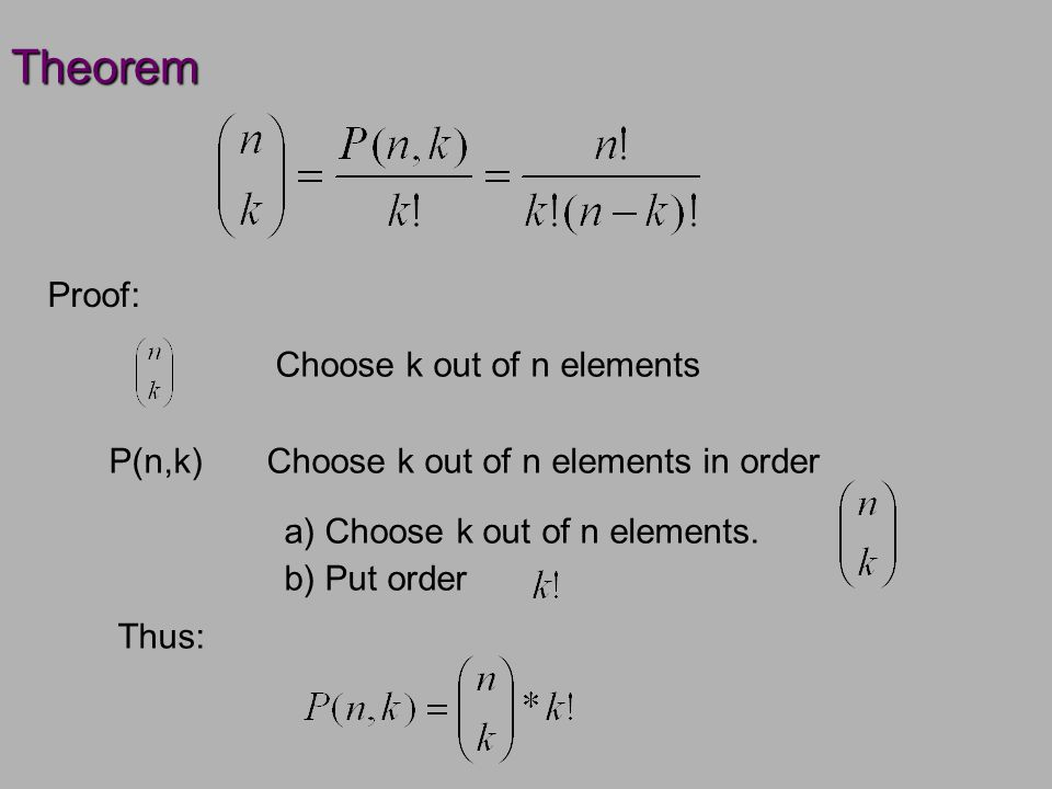Theorem Proof: Choose k out of n elements Choose k out of n elements in order a) Choose k out of n elements.