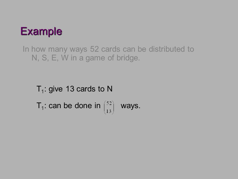 Example In how many ways 52 cards can be distributed to N, S, E, W in a game of bridge.