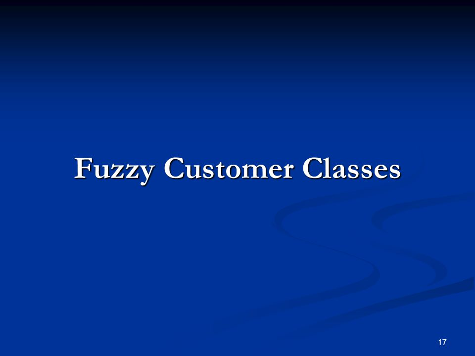 17 Fuzzy Customer Classes