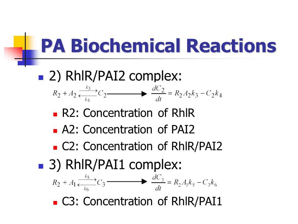 PA Biochemical Reactions 2) RhlR/PAI2 complex: R2: Concentration of RhlR A2: Concentration of PAI2 C2: Concentration of RhlR/PAI2 3) RhlR/PAI1 complex: C3: Concentration of RhlR/PAI1