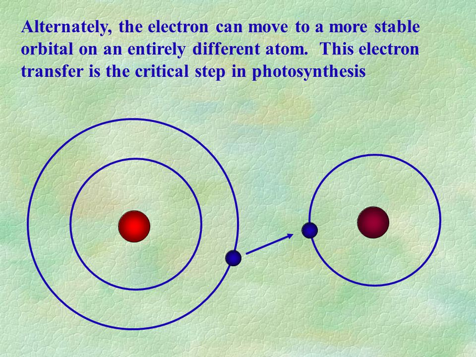 Alternately, the electron can move to a more stable orbital on an entirely different atom.