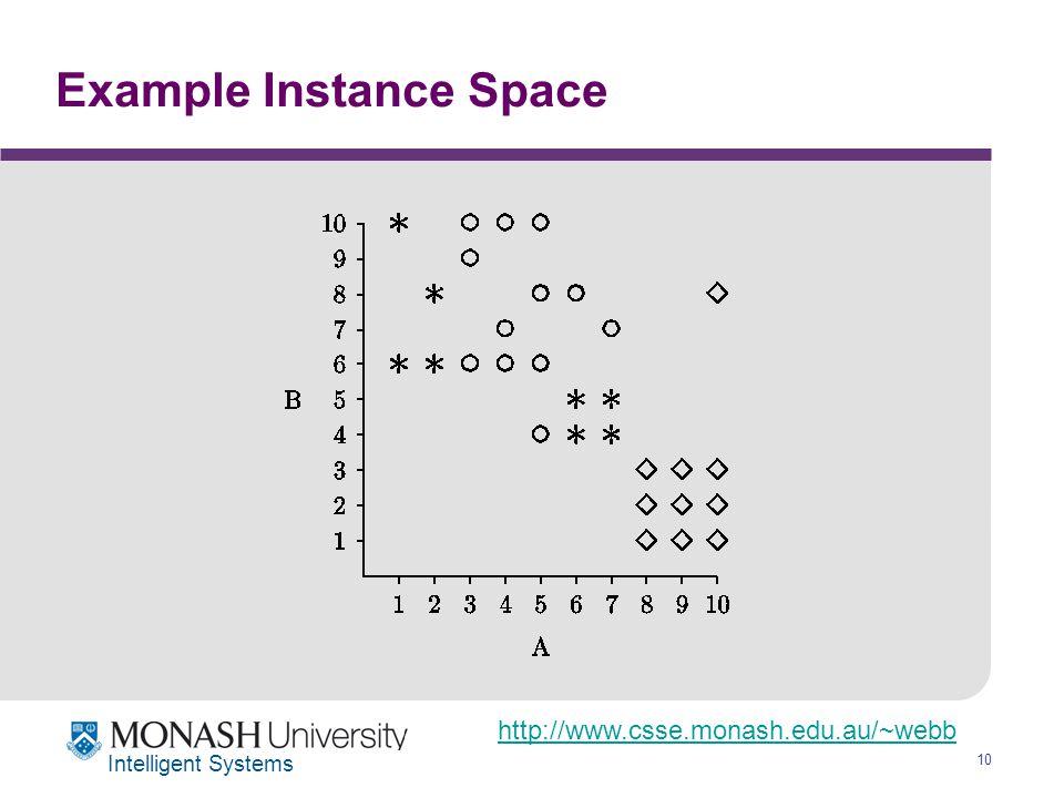 http://www.csse.monash.edu.au/~webb 10 Intelligent Systems Example Instance Space
