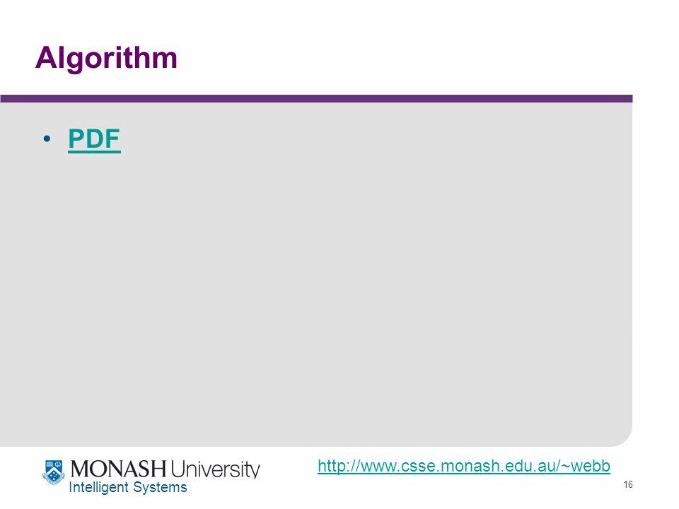 http://www.csse.monash.edu.au/~webb 16 Intelligent Systems Algorithm PDF