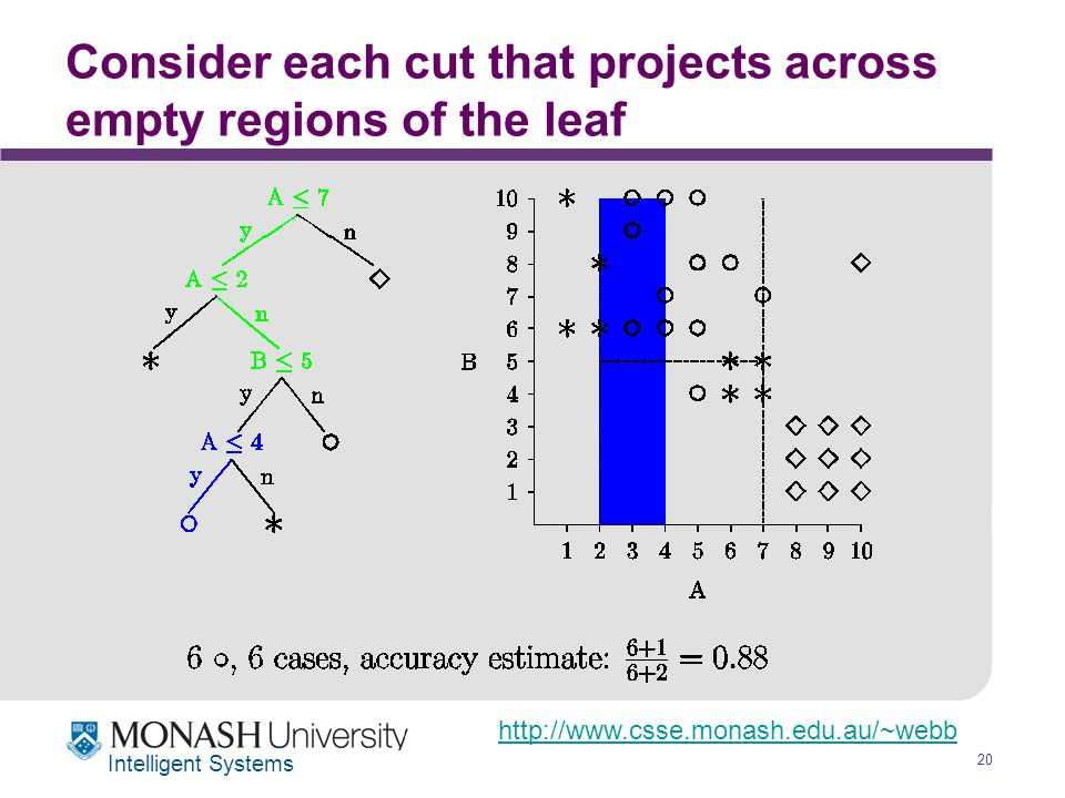 http://www.csse.monash.edu.au/~webb 20 Intelligent Systems Consider each cut that projects across empty regions of the leaf
