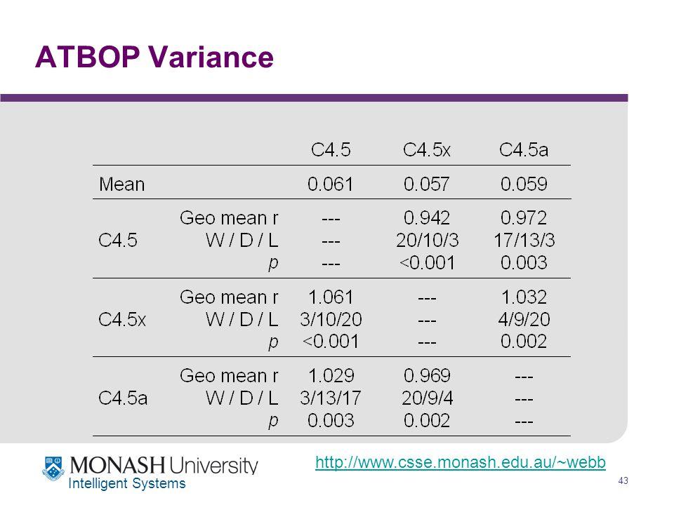 http://www.csse.monash.edu.au/~webb 43 Intelligent Systems ATBOP Variance