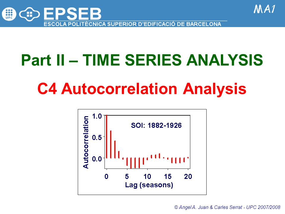 Part II – TIME SERIES ANALYSIS C4 Autocorrelation Analysis © Angel A.
