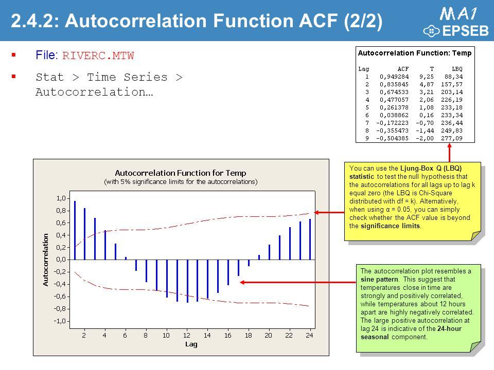 2.4.2: Autocorrelation Function ACF (2/2)  File: RIVERC.MTW  Stat > Time Series > Autocorrelation… The autocorrelation plot resembles a sine pattern.