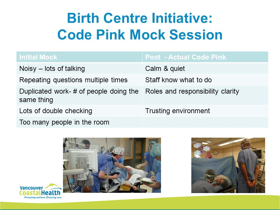 Birth Centre Initiative: Code Pink Mock Session Initial MockPost - Actual Code Pink Noisy – lots of talkingCalm & quiet Repeating questions multiple t