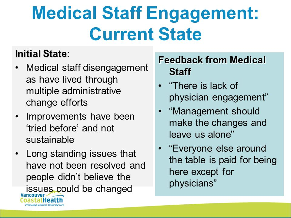 Medical Staff Engagement: Current State Initial State Initial State: Medical staff disengagement as have lived through multiple administrative change