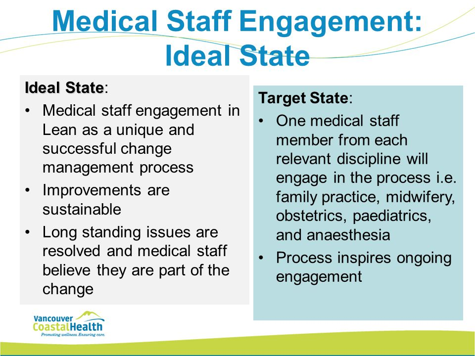 Medical Staff Engagement: Ideal State Ideal State Ideal State: Medical staff engagement in Lean as a unique and successful change management process I