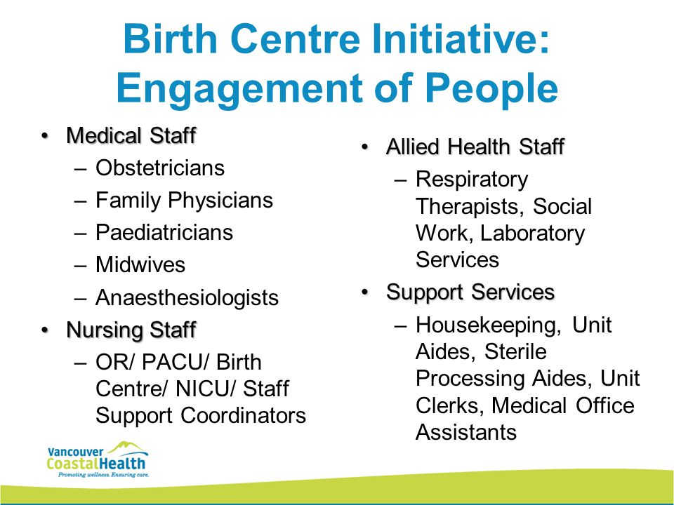 Birth Centre Initiative: Engagement of People Medical StaffMedical Staff –Obstetricians –Family Physicians –Paediatricians –Midwives –Anaesthesiologis