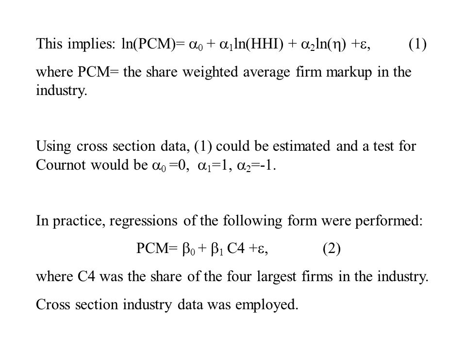 Why is (2) a reduced form regression.After all, both margins and concentration are endogenous.