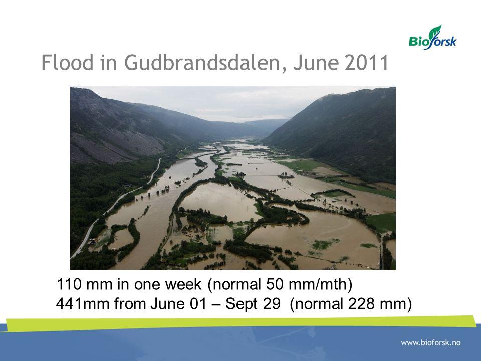 Flood in Gudbrandsdalen, June 2011 110 mm in one week (normal 50 mm/mth) 441mm from June 01 – Sept 29 (normal 228 mm)