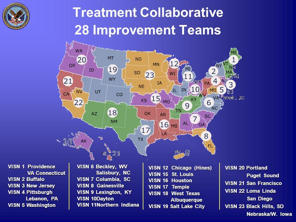 Treatment Collaborative 28 Improvement Teams VISN 6 Beckley, WV Salisbury, NC Salisbury, NC VISN 7 Columbia, SC VISN 8 Gainesville VISN 9 Lexington, KY VISN 10Dayton VISN 11Northern Indiana VISN 20 Portland Puget Sound Puget Sound VISN 21 San Francisco VISN 22 Loma Linda San Diego San Diego VISN 23 Black Hills, SD Nebraska/W.