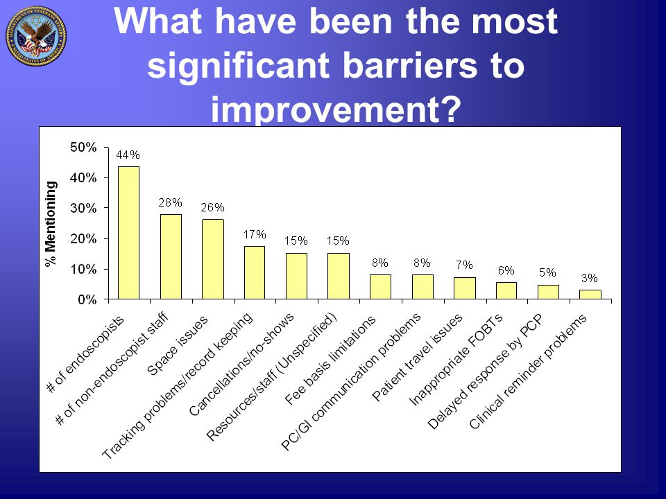 What have been the most significant barriers to improvement?