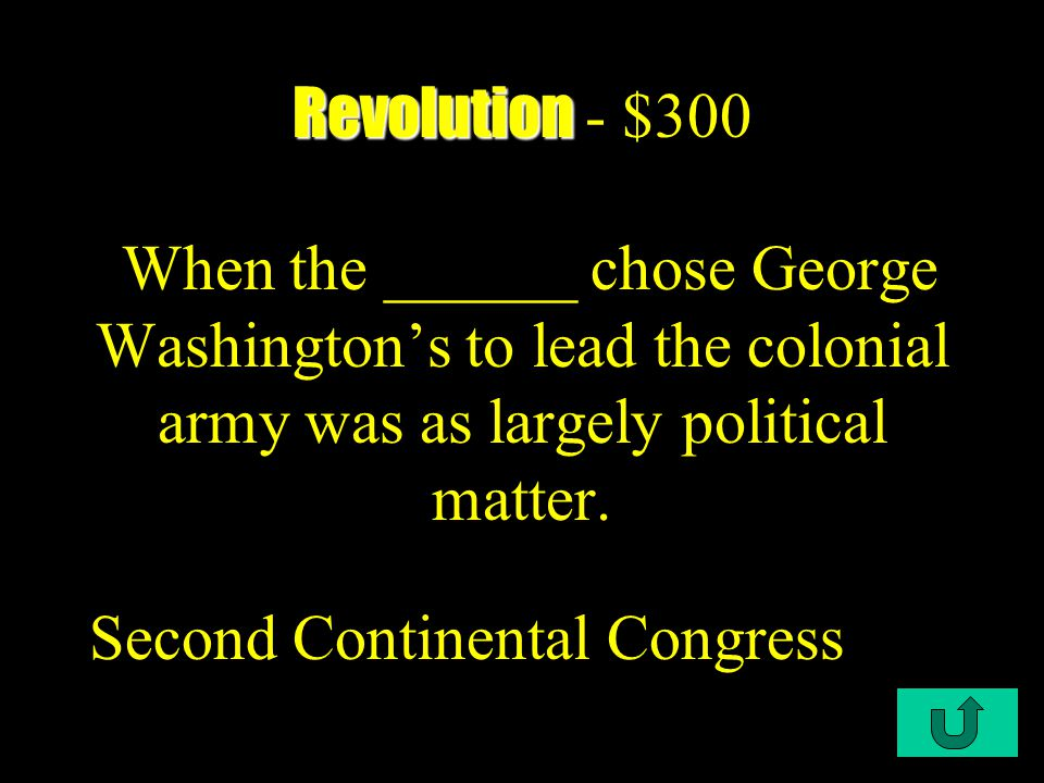 C1-$200 Revolution Revolution - $200 As a result of American opposition to this Act, British officials sent regiments of troops to Boston to restore law and order Townshend Acts