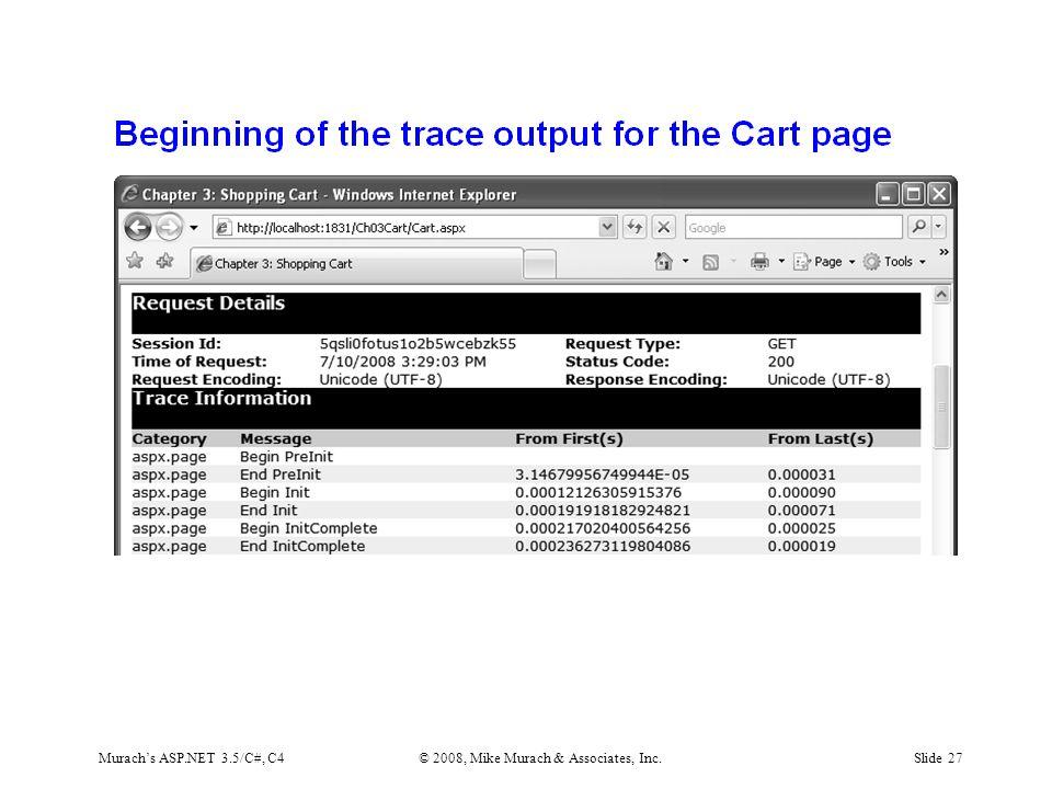 Murach's ASP.NET 3.5/C#, C4© 2008, Mike Murach & Associates, Inc.Slide 27