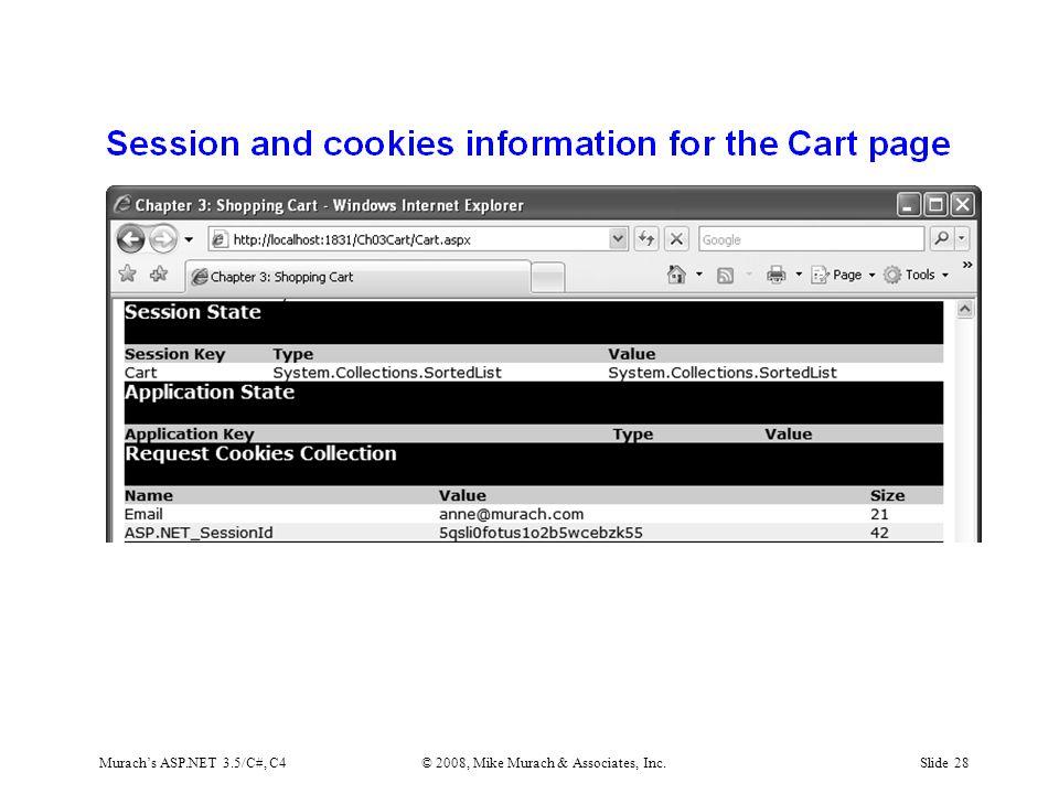 Murach's ASP.NET 3.5/C#, C4© 2008, Mike Murach & Associates, Inc.Slide 28