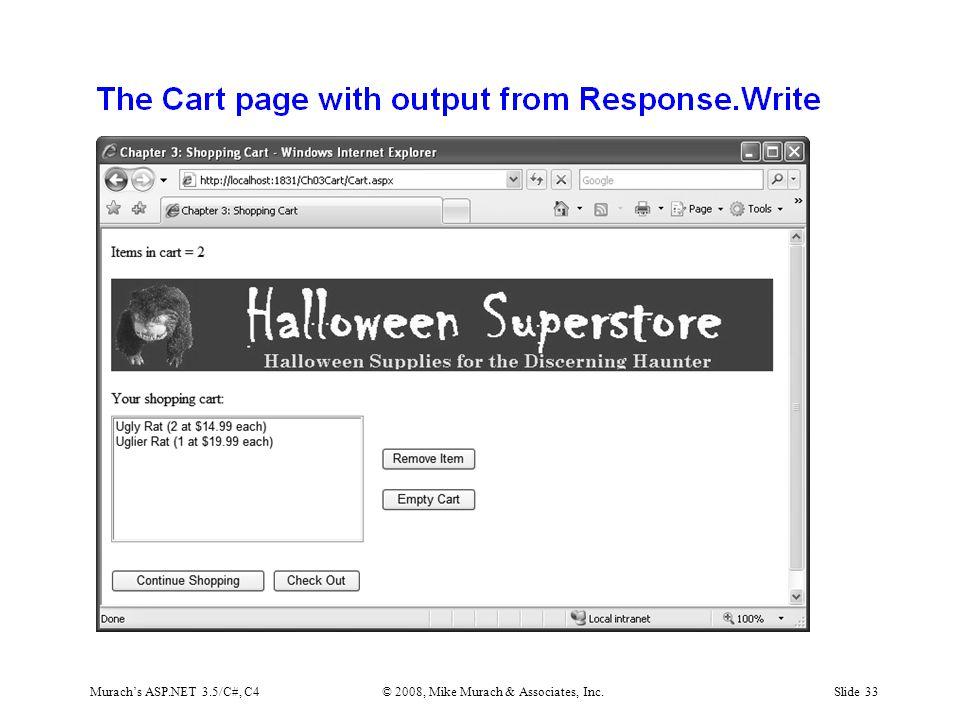 Murach's ASP.NET 3.5/C#, C4© 2008, Mike Murach & Associates, Inc.Slide 33