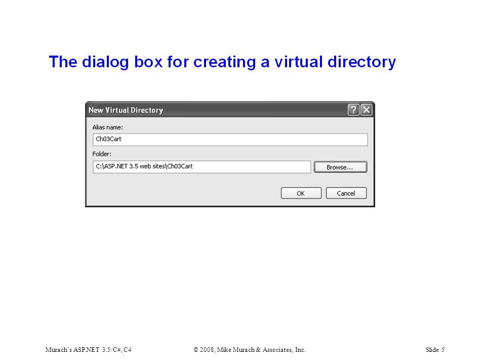 Murach's ASP.NET 3.5/C#, C4© 2008, Mike Murach & Associates, Inc.Slide 5