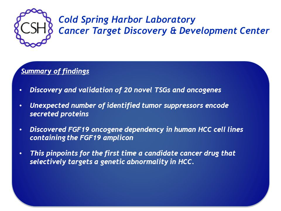 Discovery and validation of 20 novel TSGs and oncogenes Unexpected number of identified tumor suppressors encode secreted proteins Discovered FGF19 on