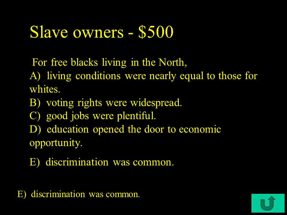 C3-$400 Slave owners - $400 Some southern slaves gained their freedom as a result of A) the prohibition of the Atlantic slave trade after 1807.