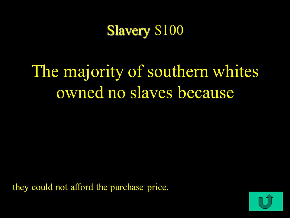 C3-$100 Slave owners - $100 Members of the planter aristocracy: A) produced fewer front-rank statesmen than the North.