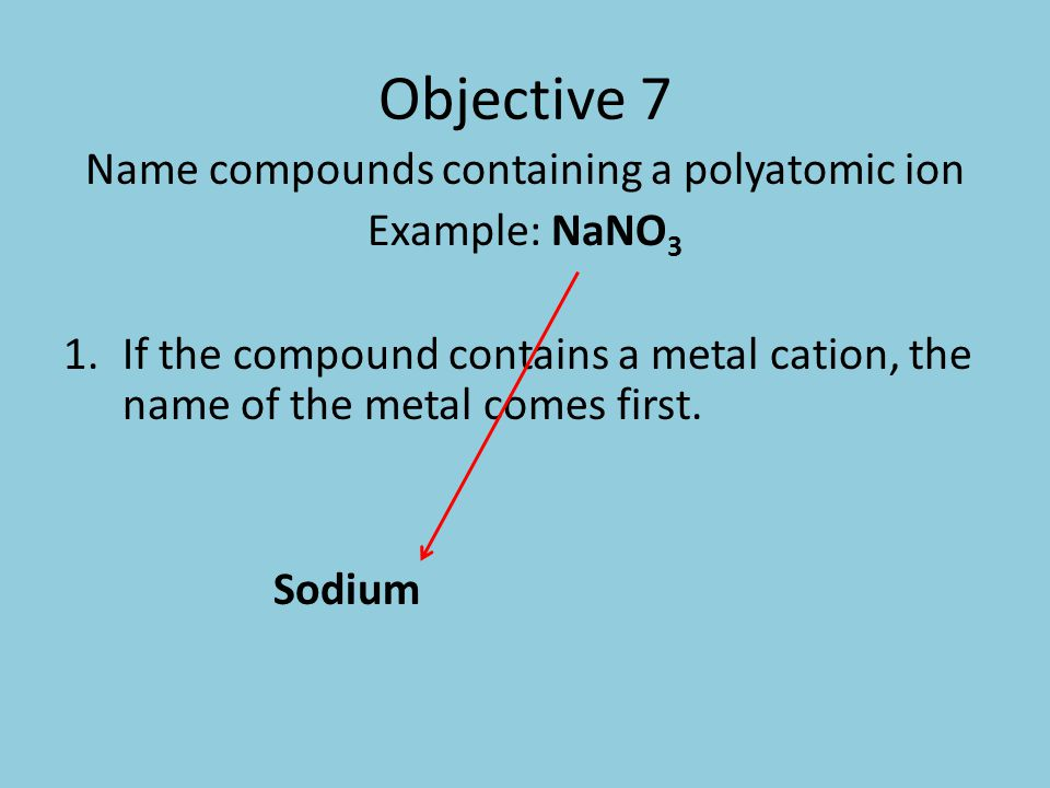 Objective 7 Name compounds containing a polyatomic ion Example: NaNO 3 2.