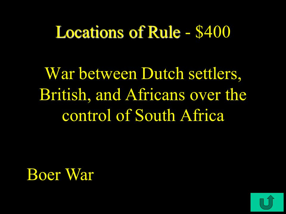 C3-$300 Locations of Rule Locations of Rule - $300 The main cause of inadequate food supplies in Africa during European colonization Cash crops, such as cotton