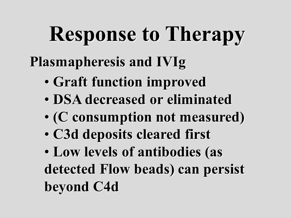 Response to Therapy Plasmapheresis and IVIg Graft function improved Graft function improved DSA decreased or eliminated DSA decreased or eliminated (C consumption not measured) (C consumption not measured) C3d deposits cleared first C3d deposits cleared first Low levels of antibodies (as detected Flow beads) can persist beyond C4d Low levels of antibodies (as detected Flow beads) can persist beyond C4d