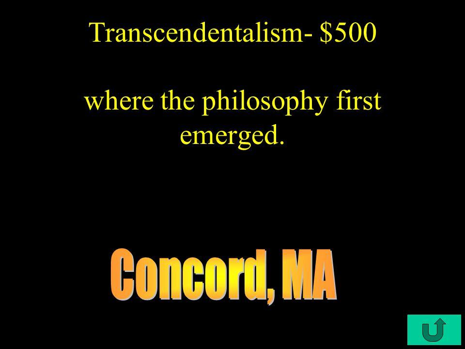 C2-$400 Transcendentalism- $400 Nathaniel Hawthorne